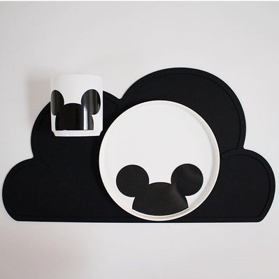 Cloud Shape Tableware Silicone Heat Resistant Placemat Table Mat - Black
