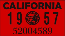 1957 YEAR STICKER ON CALIFORNIA LICENSE PLATE