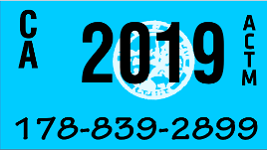2019 YEAR STICKER ON CALIFORNIA LICENSE PLATE