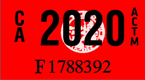 2020 YEAR STICKER ON CALIFORNIA LICENSE PLATE