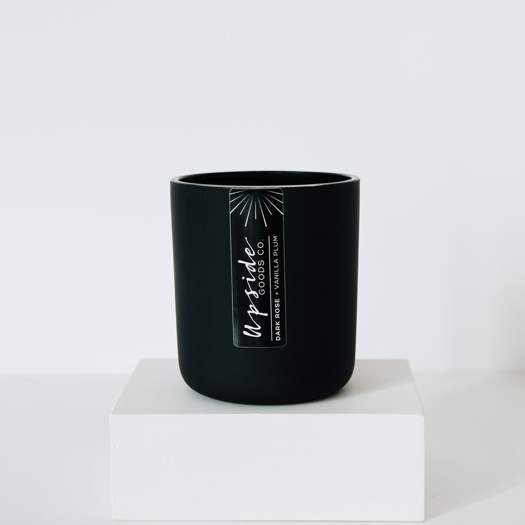 Dark Rose + Vanilla Plum Coconut Soy Candle at Upside Goods Co.