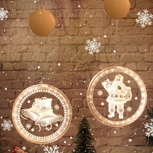 Christmas Window Hanging LED Light Xmas Ornament Suction Home Battery Cup E3K3