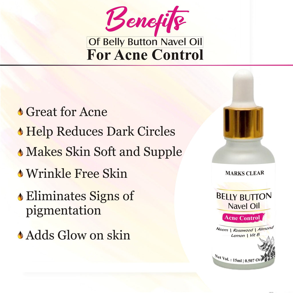 Belly Navel Nabhi Oil Acne Control Oil Perfect for Glowing Skin, Radiant Skin With Rosewood, Almond, Aloe, Lemon Oil & Vitamin E - 15ml