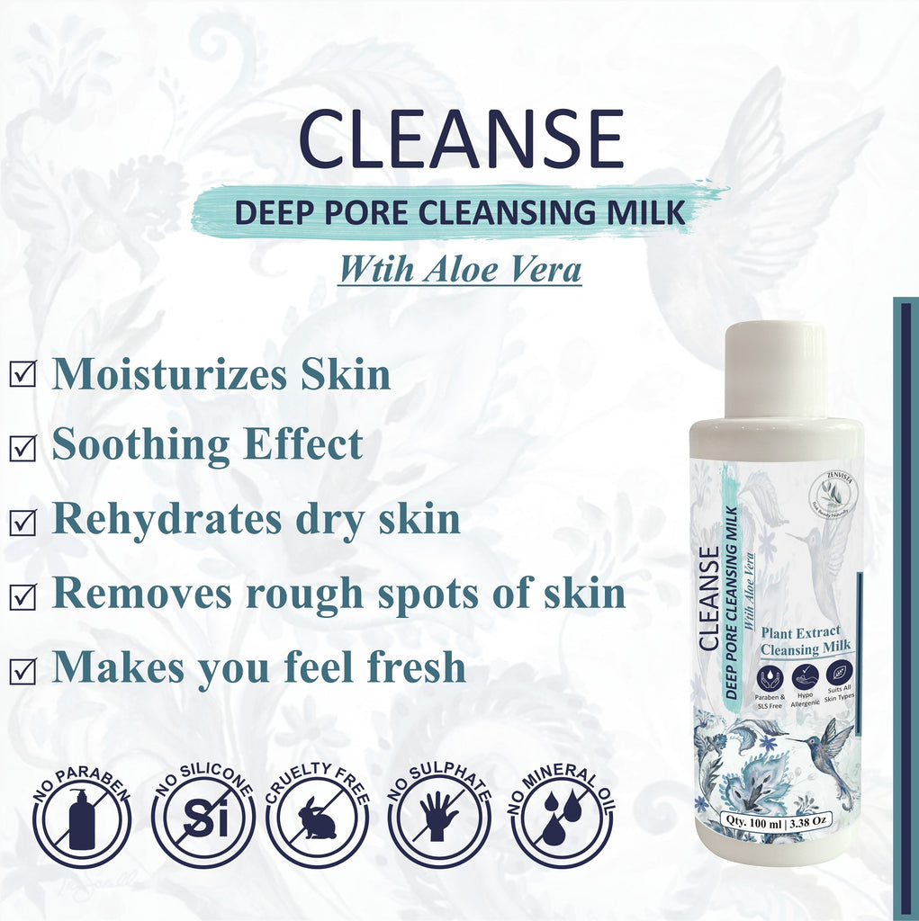 Deep Pore Cleansing Milk with Plant Extract Aloe Vera, Milk Extracts for All Skin Types- 100ml