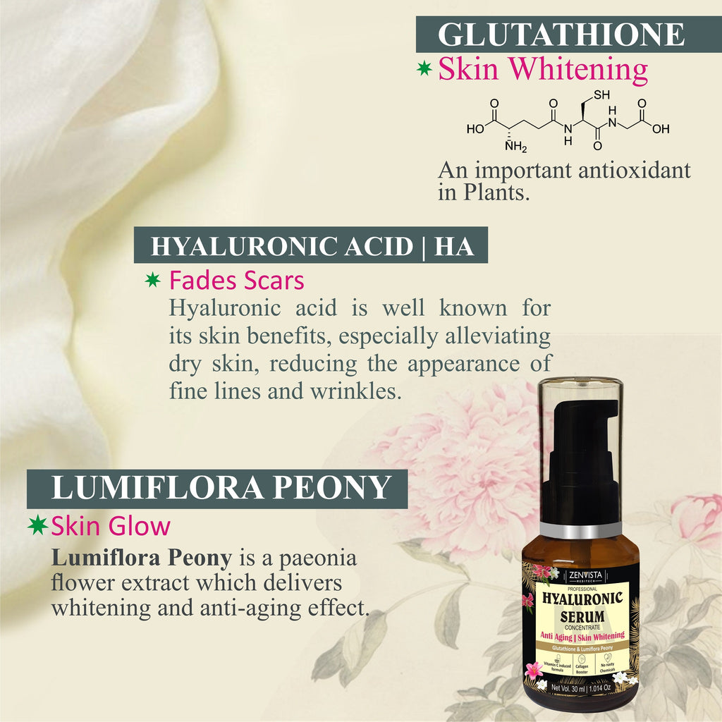 Hyaluronic Face Serum +Vitamin C+ Glutathione+ Lumiflora Peony- 30ml, Under Eye Dark Circles, Anti Aging, Skin Fairness Brightening.
