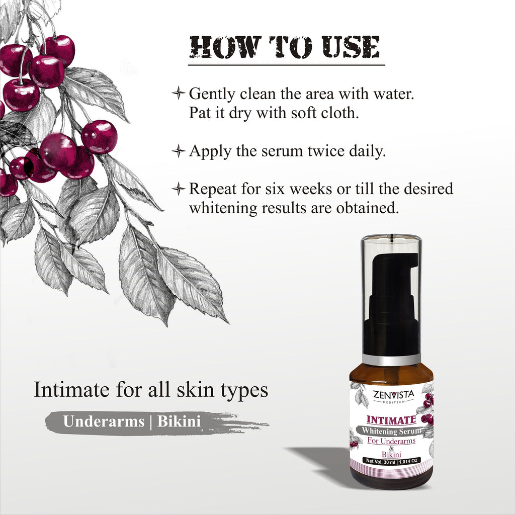 Intimate Whitening, Brightening Serum for Sensitive Skin of Bikini and Under arms, All Natural Ingredients - 30ml