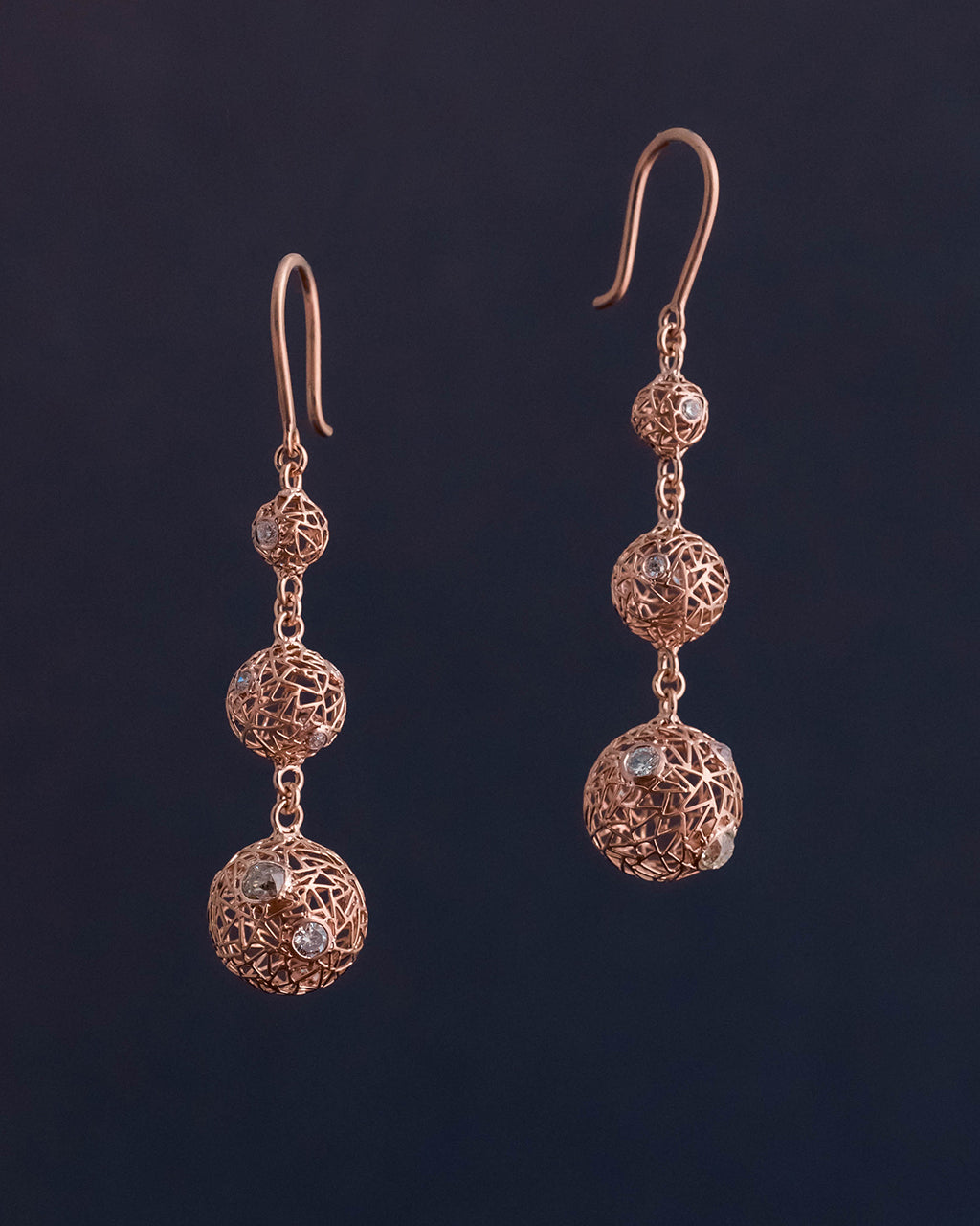 Handmade gold wire jewelry, unique diamond earrings.