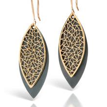 Load image into Gallery viewer, Two Tone Leaf Earrings