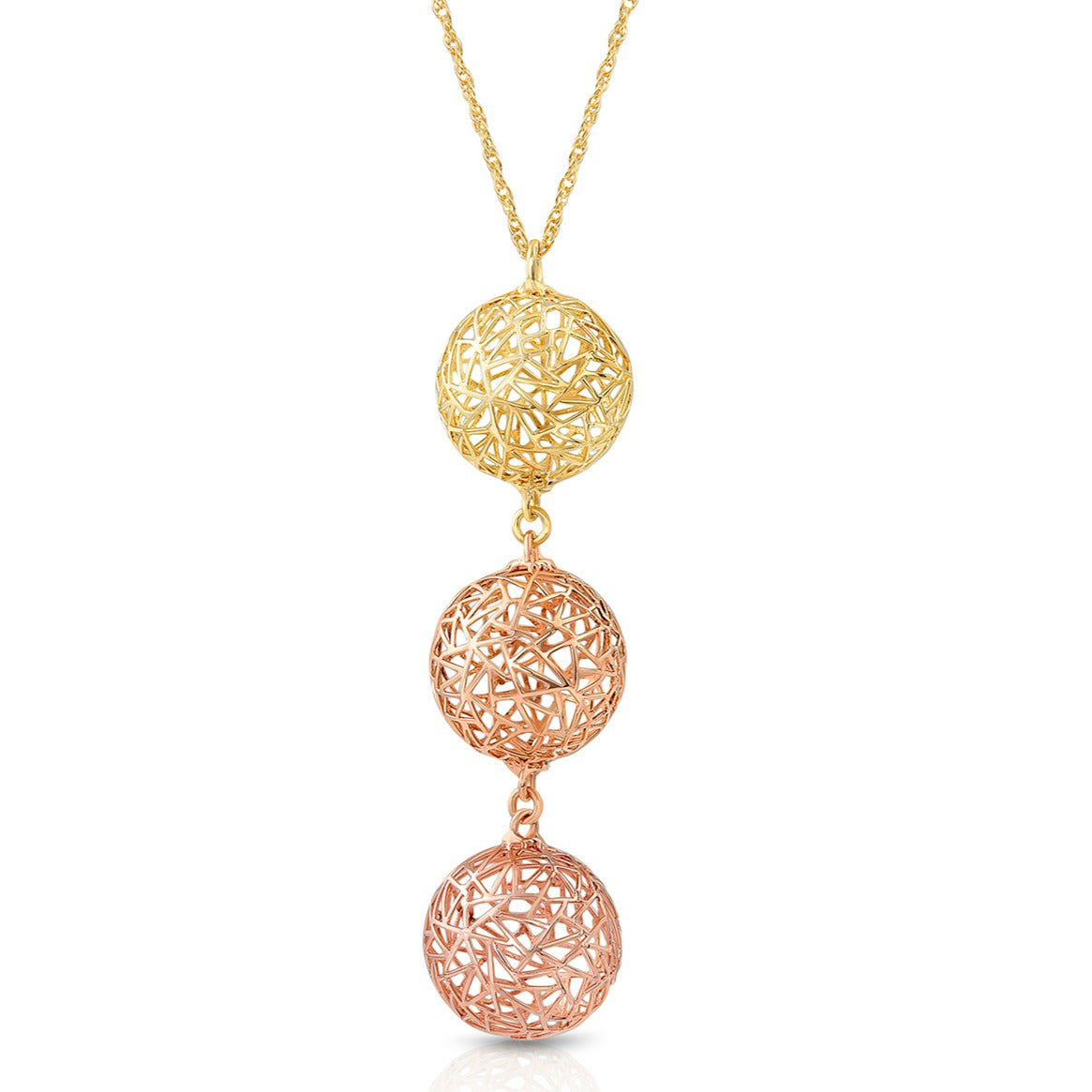 Three Gold Colors Bubble Necklace
