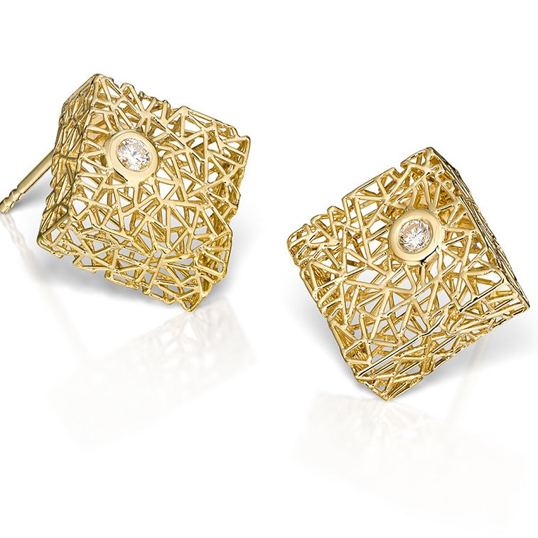 Box Earrings with Diamonds