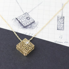 Load image into Gallery viewer, Gold box pendant with diamond