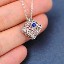 Load image into Gallery viewer, Platinum Box Pendant with Sapphire