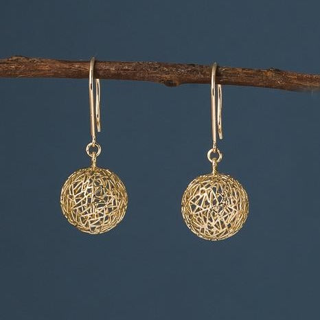 Gold Bubble Earrings with French Wire