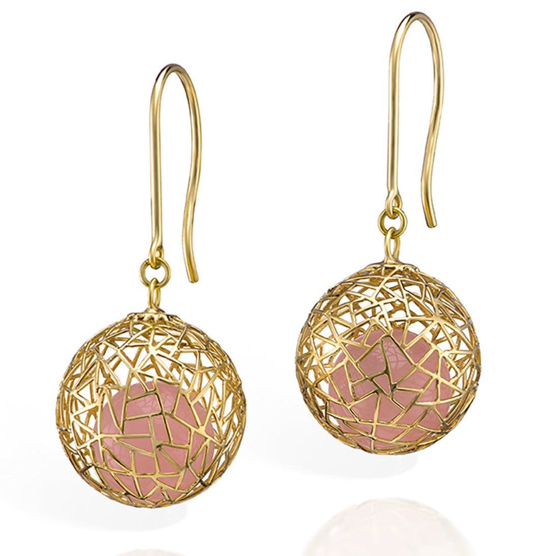 Gold Earrings with Rose Quartz