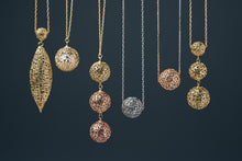 Load image into Gallery viewer, Three Gold Colors Bubble Necklace