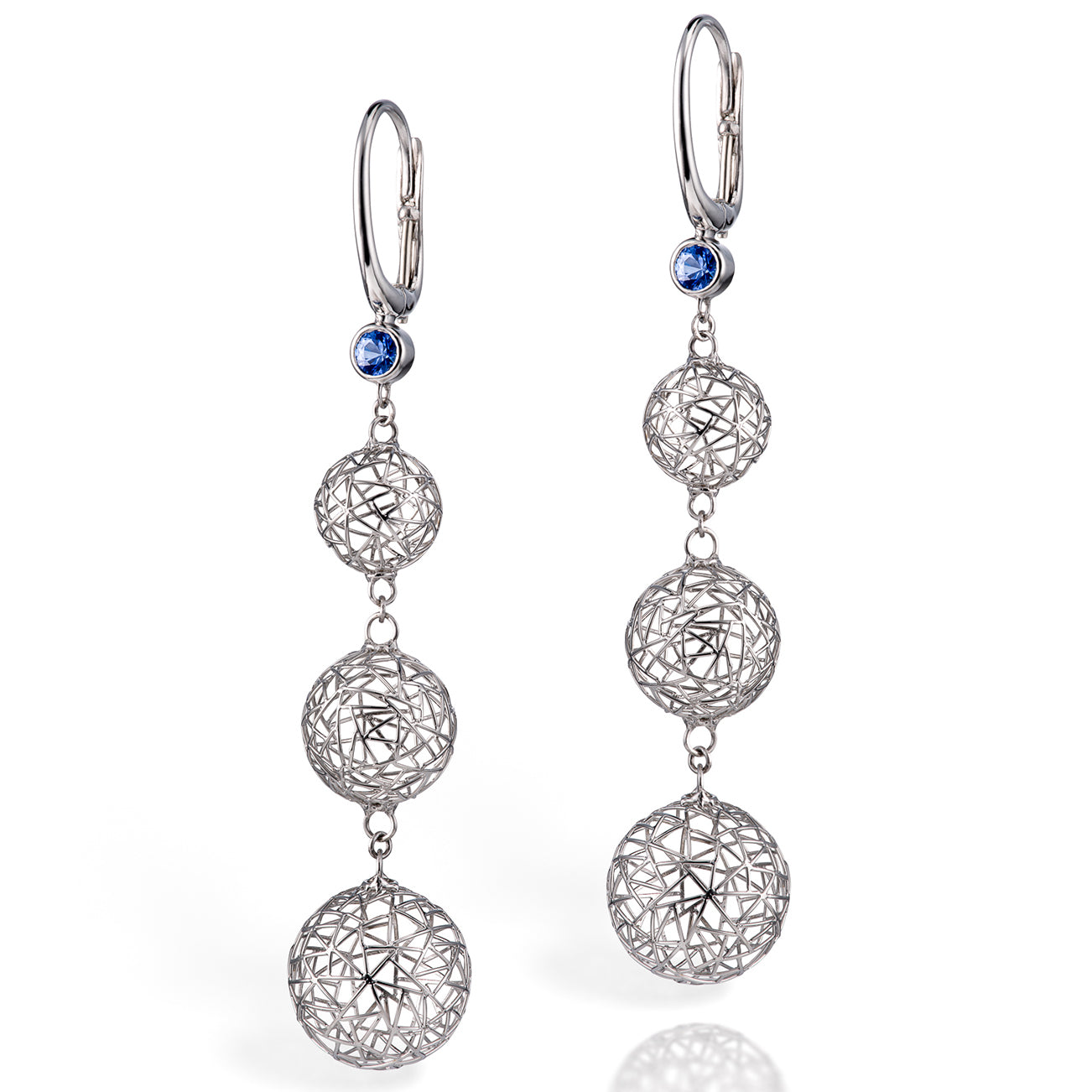Gradual Bubble Earrings with Sapphires