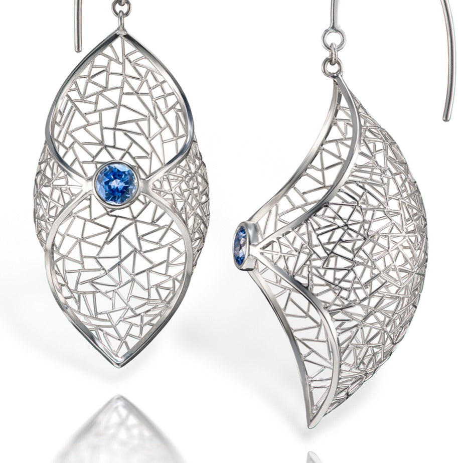 Patel Earrings - Platinum with sapphire