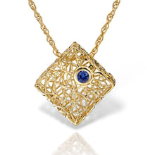 Load image into Gallery viewer, Gold box pendant with Gem