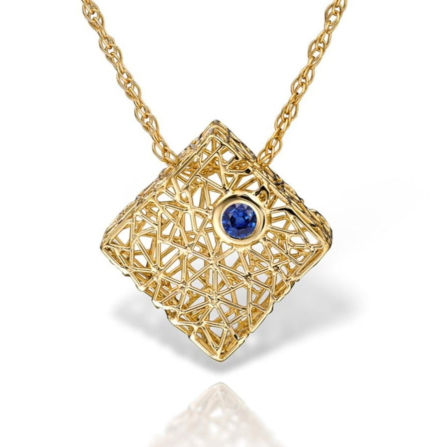 Gold box pendant with Gem