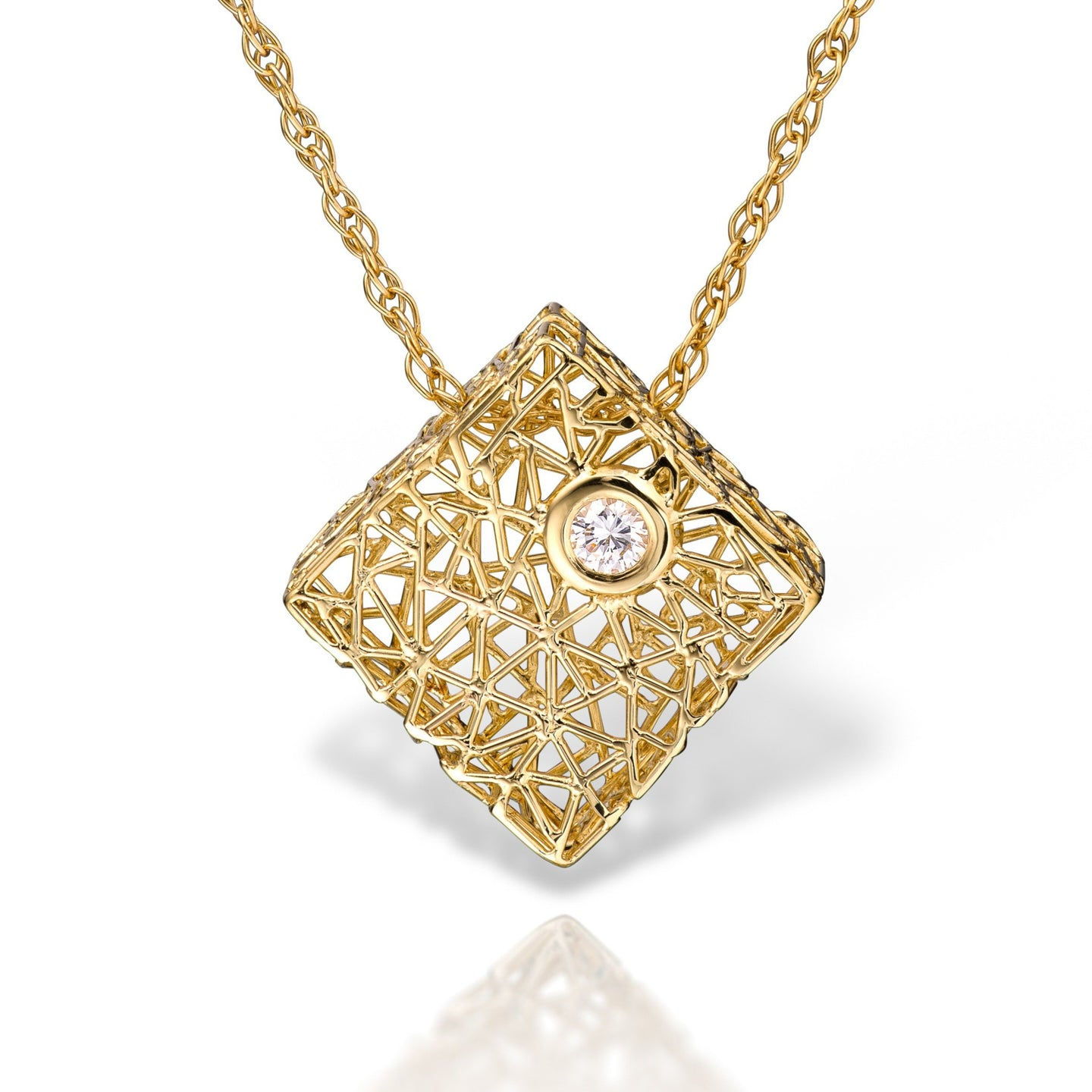 Gold box pendant with diamond