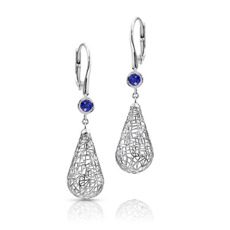 Platinum Raindrop  Earrings with Blue Sapphires-small