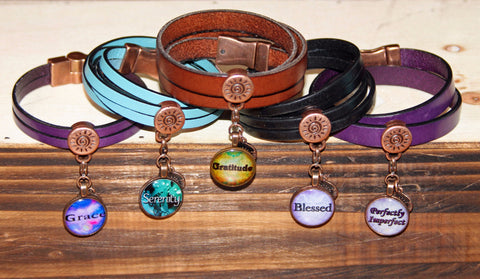 Leather Radiating Gratitude Power Penny Bracelet (Single wrap, 5mm Double Wrap or 10mm Double Wrap)