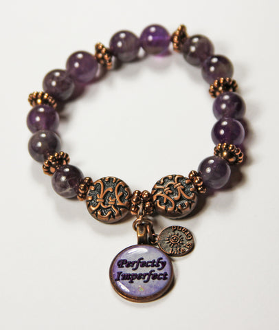 Amethyst Gemstone Healing Energy/Affirmation Power Penny Bracelet