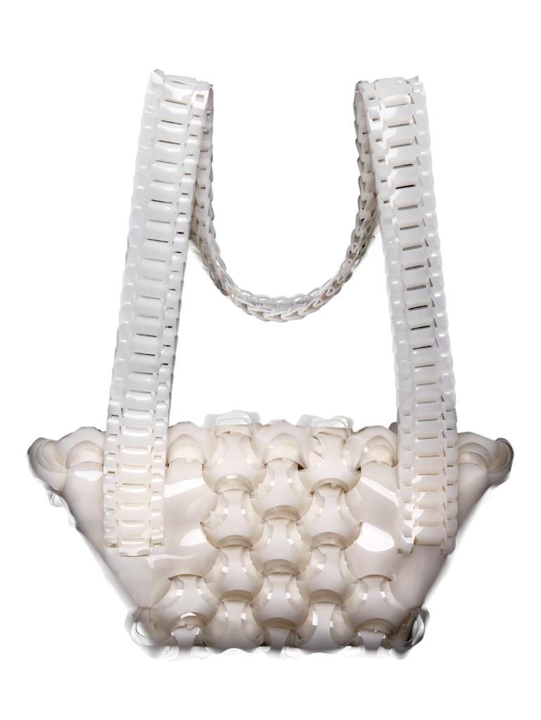 Opera Clutch in White with Strap
