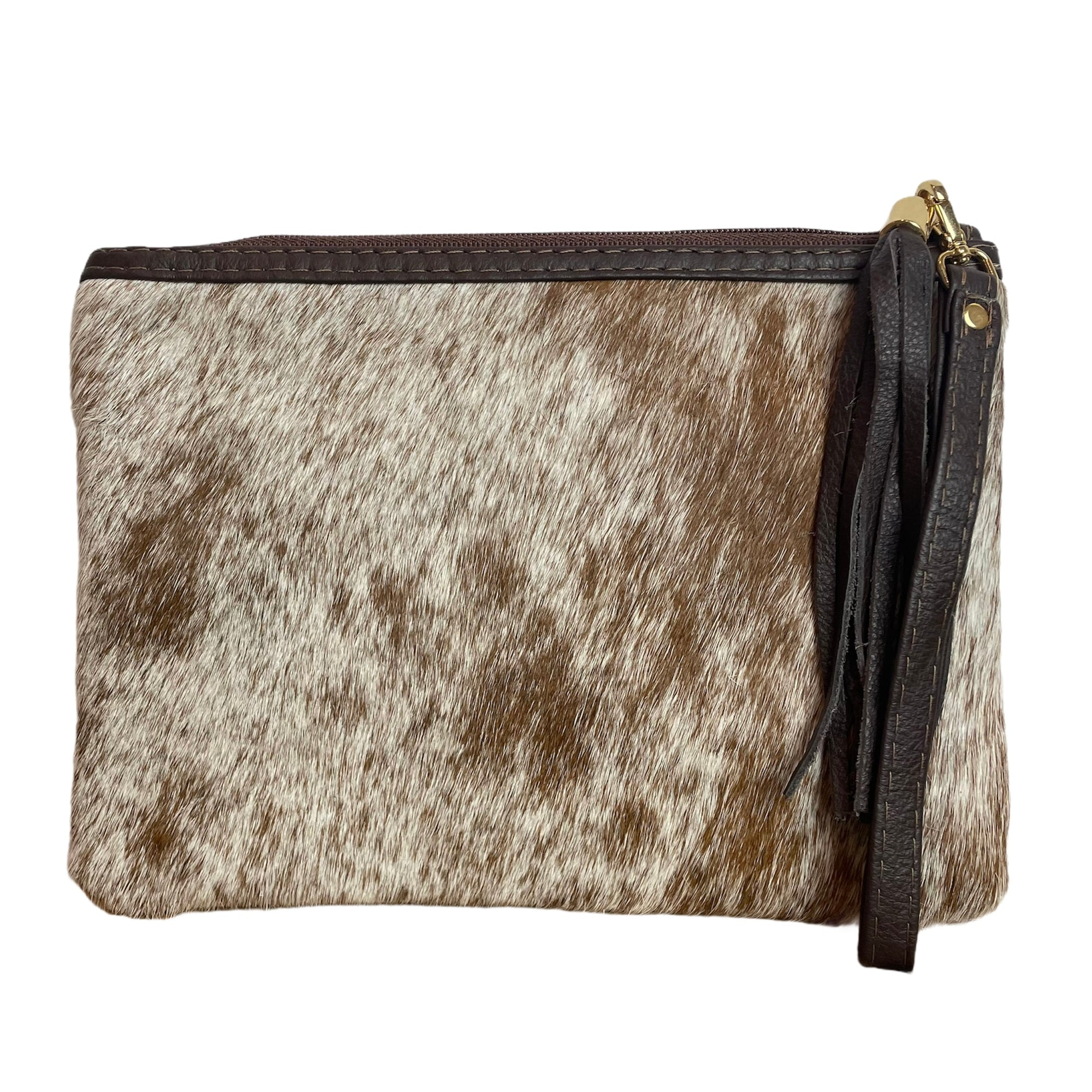 COWHIDE EVERYDAY SMALL CLUTCH - ASH SPECKLE. Izel Designs