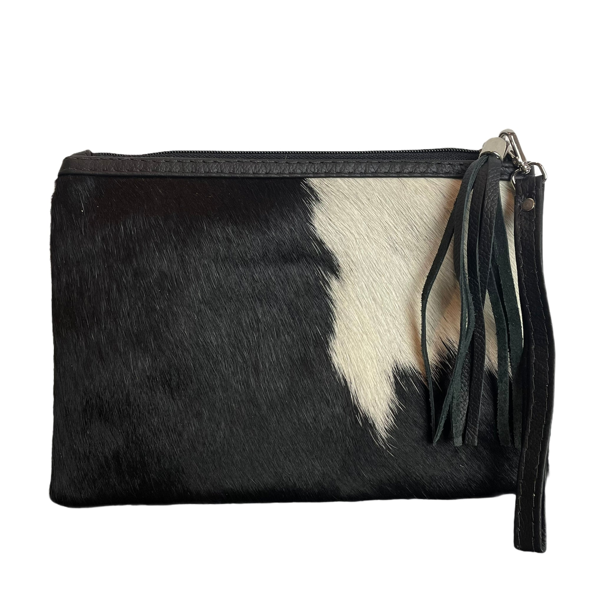 COWHIDE EVERYDAY SMALL CLUTCH - BLACK + WHITE. Izel designs
