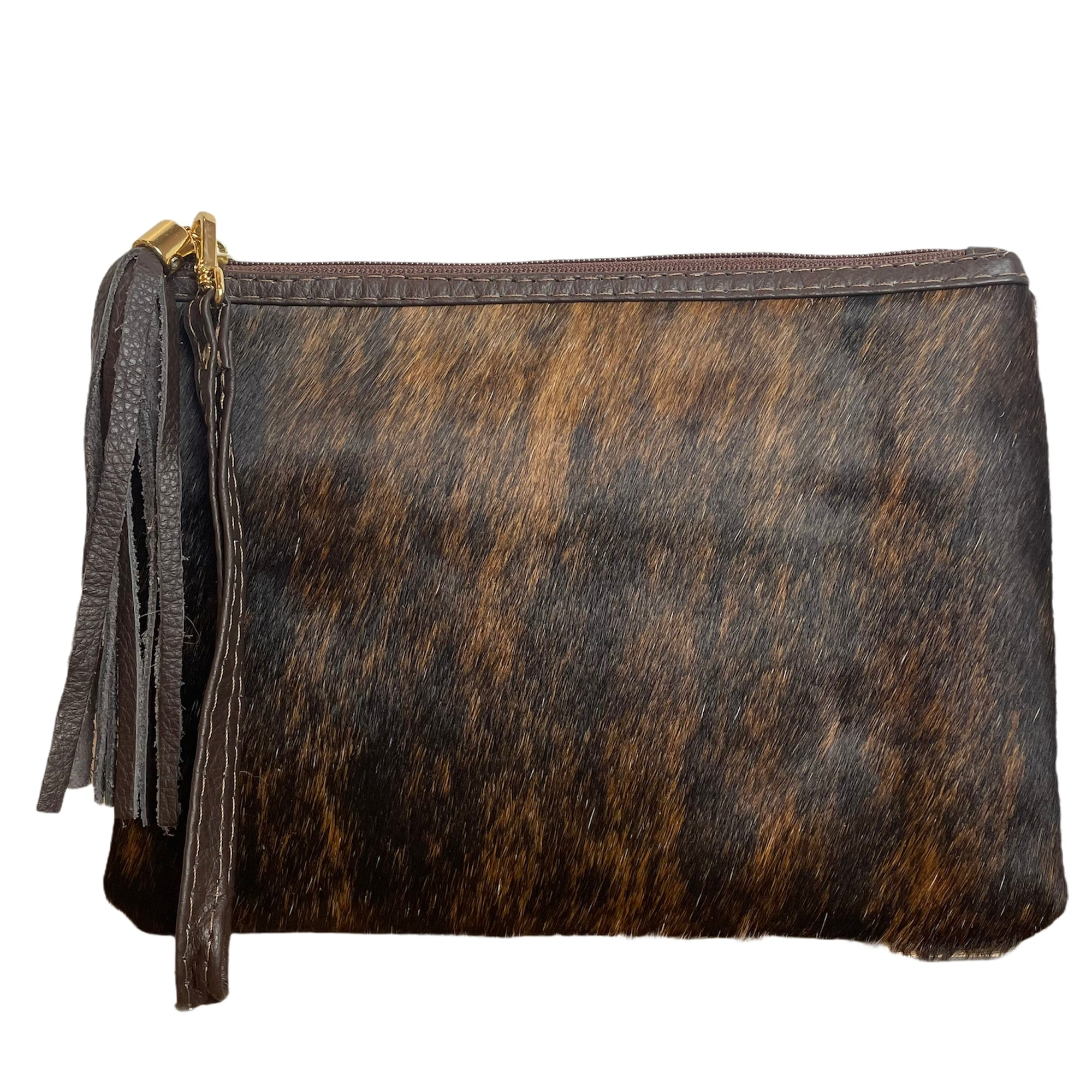 COWHIDE EVERYDAY SMALL CLUTCH - BRINDLE. Izel Designs