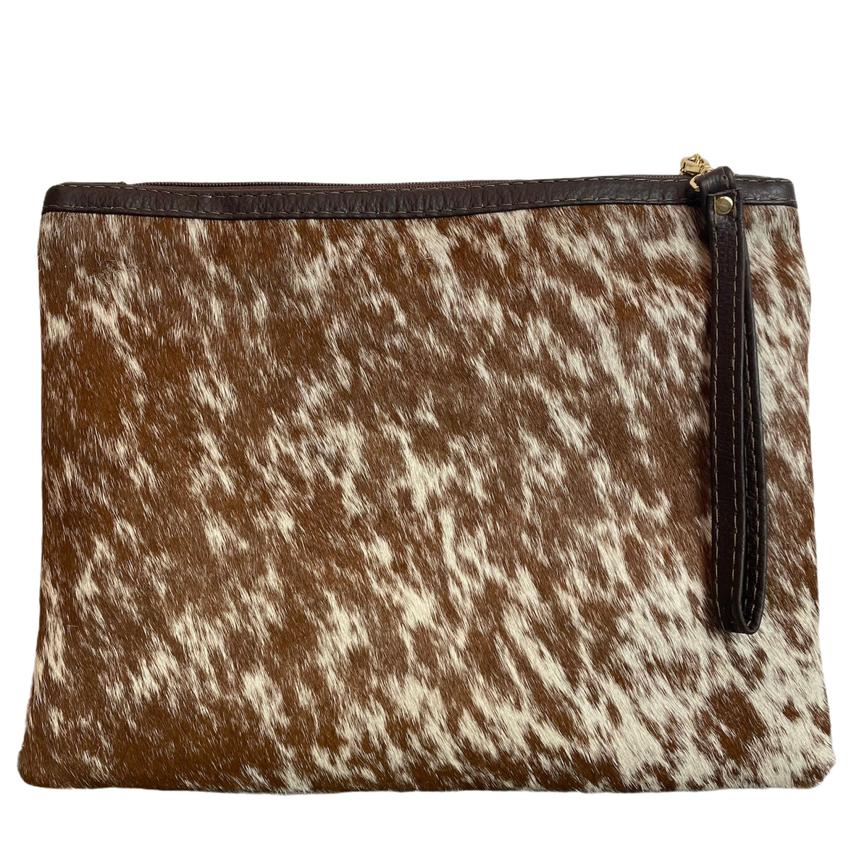 COWHIDE XL STATEMENT CLUTCH - BROWN + WHITE SPECKLE. Izel Designs