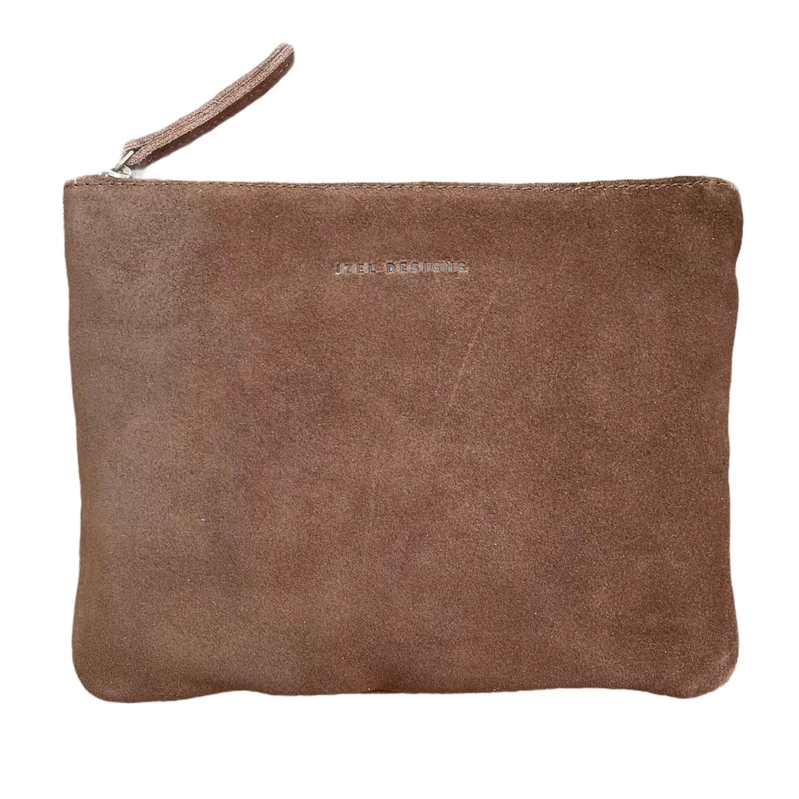 SUEDE LEATHER CLUTCH - BROWN. Izel Designs