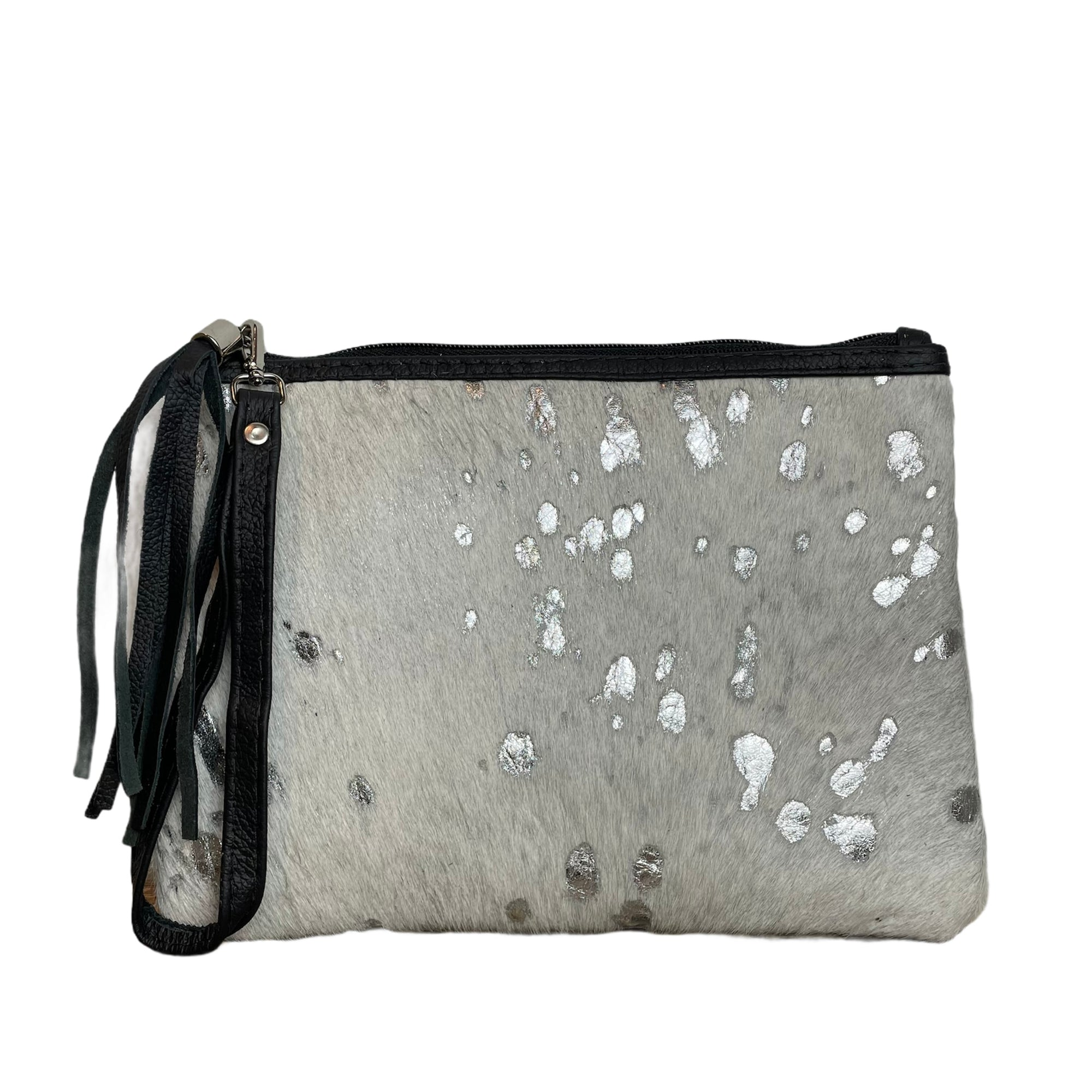 COWHIDE EVERYDAY SMALL CLUTCH - WHITE METALLIC SILVER. Izel Designs