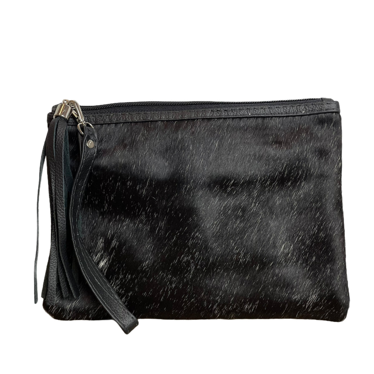 COWHIDE EVERYDAY SMALL CLUTCH - BLACK SPECKLE. Izel designs