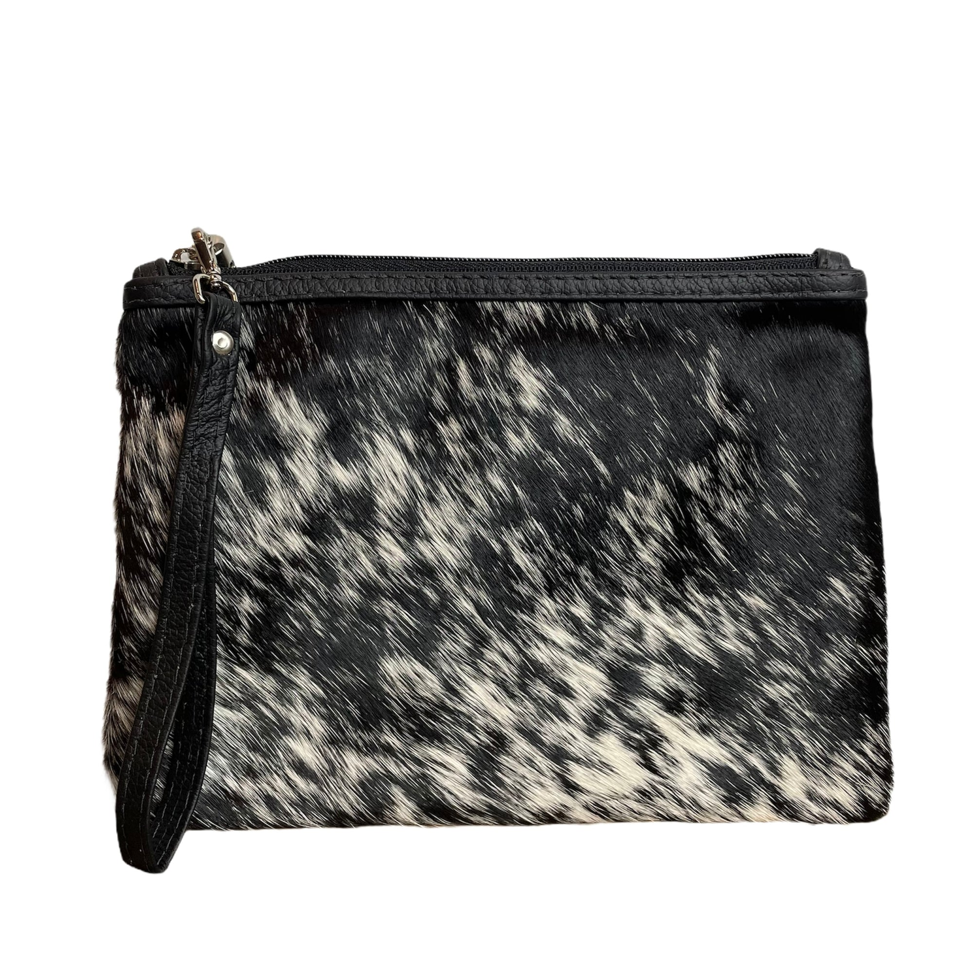 COWHIDE EVERYDAY SMALL CLUTCH - BLACK + WHITE SPECKLE. Izel designs