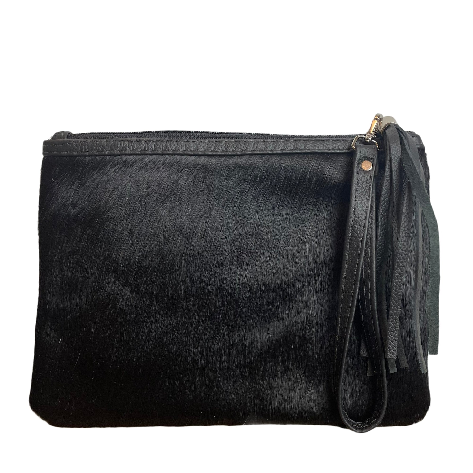 COWHIDE EVERYDAY SMALL CLUTCH - PURE BLACK. Izel Designs