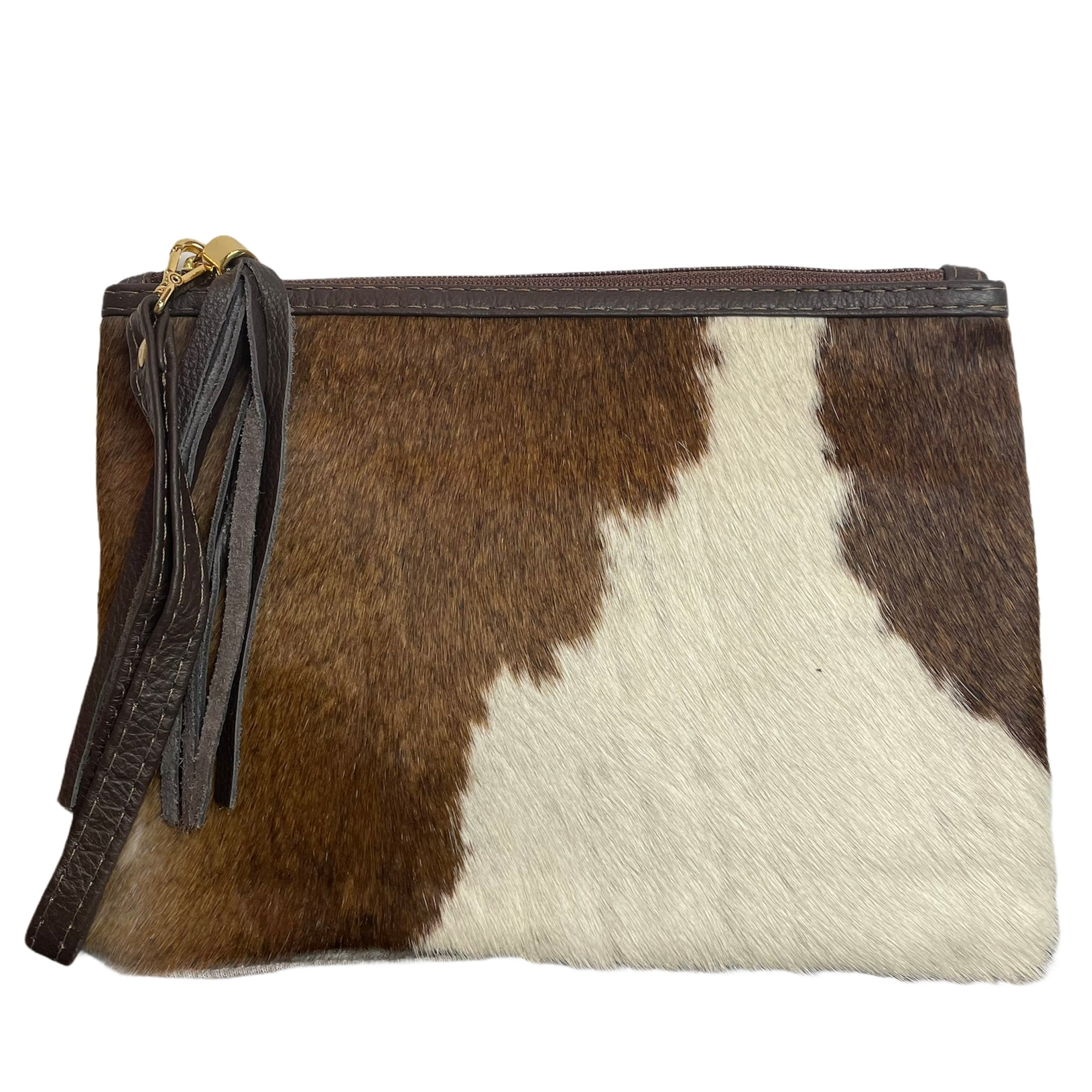 COWHIDE EVERYDAY SMALL CLUTCH - BROWN + WHITE. Izel Designs