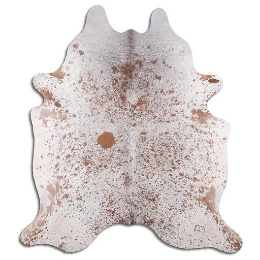 | COBY | - BROWN + WHITE SPECKLE COWHIDE RUG - IZEL DESIGNS