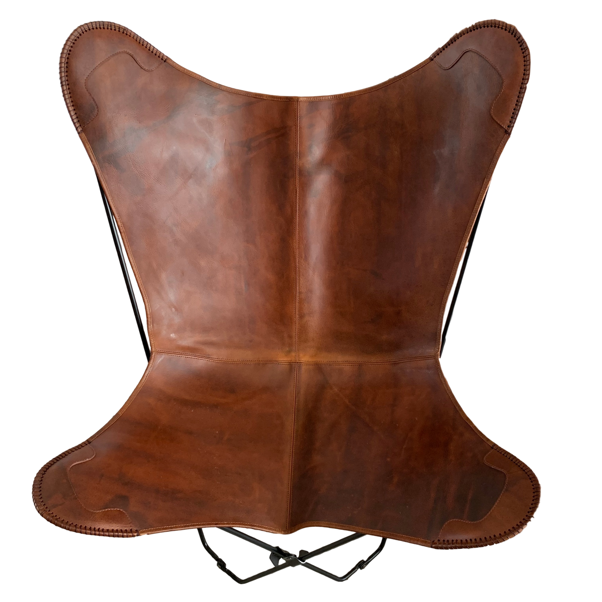 VINTAGE REDISH BROWN LEATHER BUTTERFLY CHAIR - IZEL DESIGNS