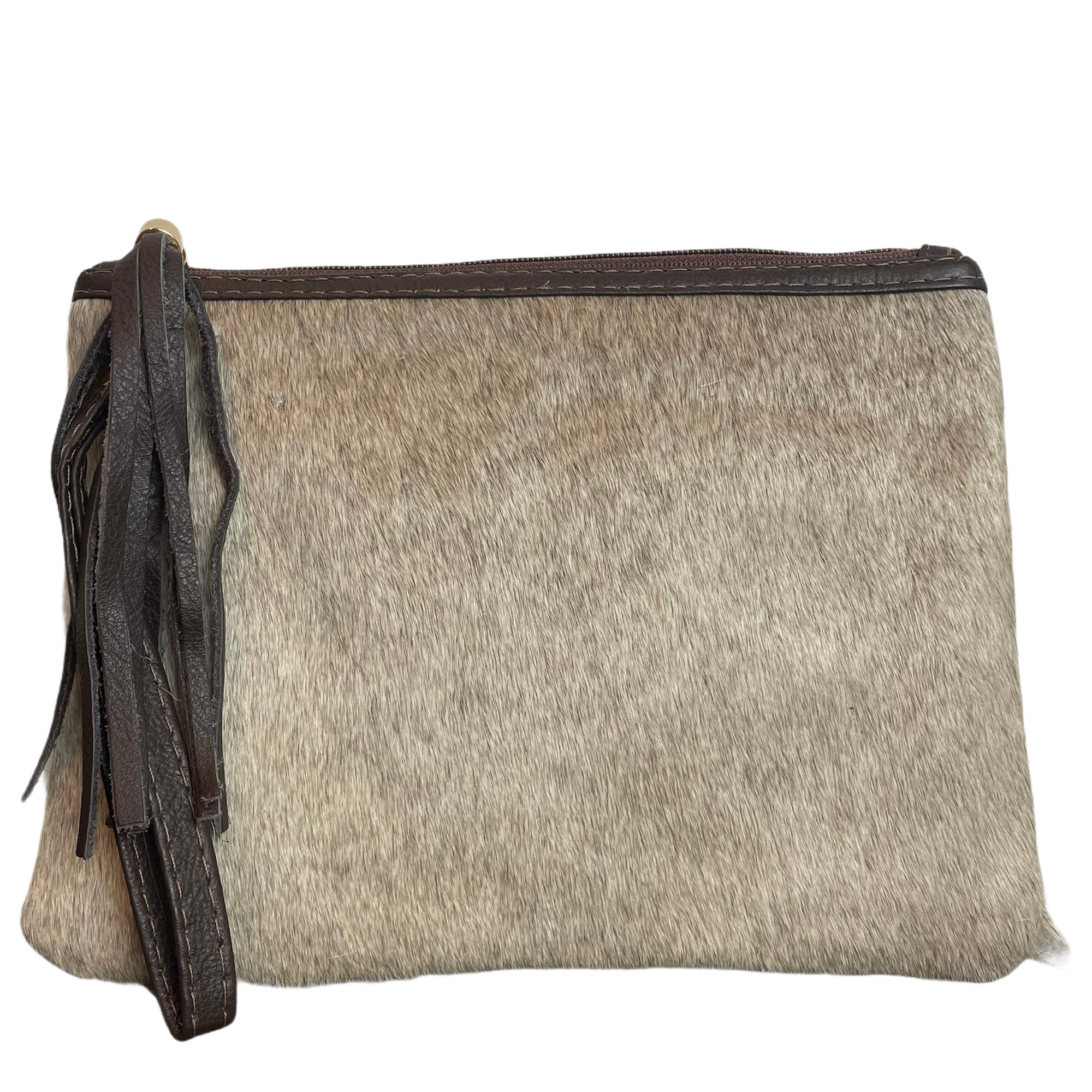 COWHIDE EVERYDAY SMALL CLUTCH - LIGHT CHAMPAGNE. Izel Designs