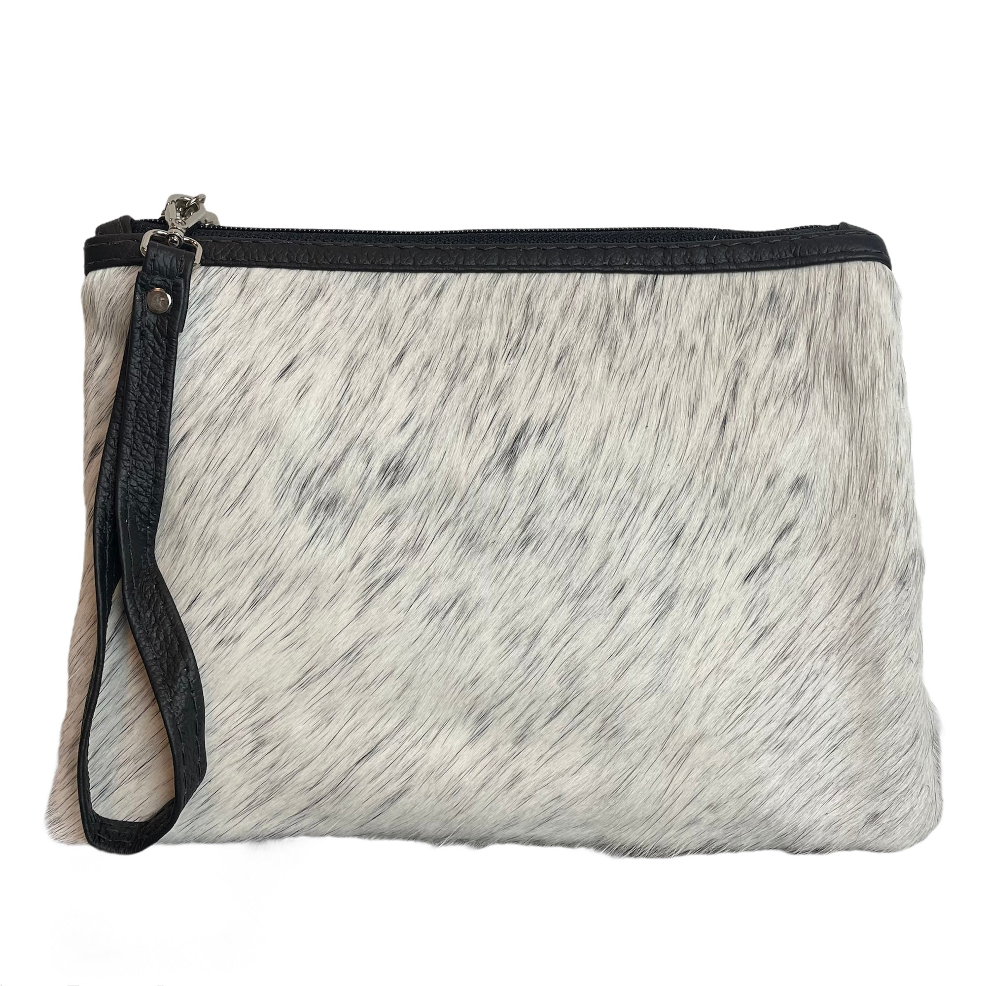 COWHIDE EVERYDAY SMALL CLUTCH - LIGHT SPECKLE. Izel Designs
