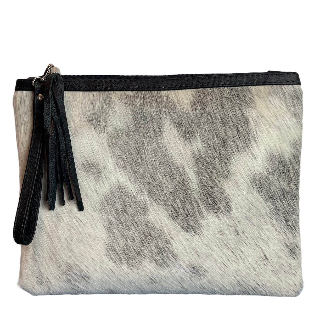 COWHIDE XL STATEMENT CLUTCH - GREY + WHITE. Izel Designs