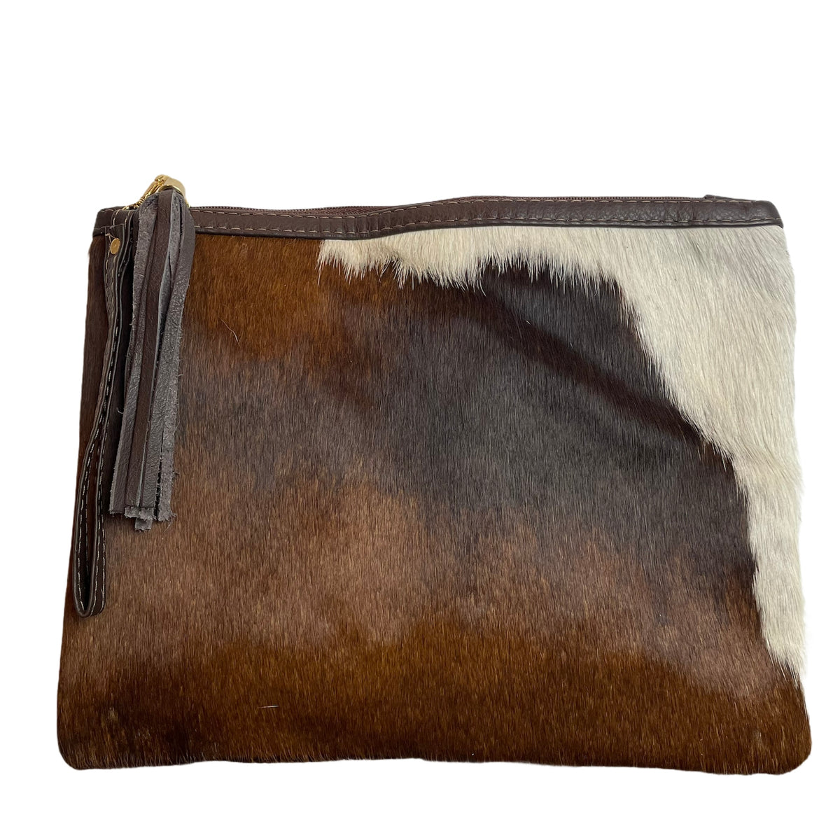 COWHIDE XL STATEMENT CLUTCH - TRICOLOUR. Izel Designs