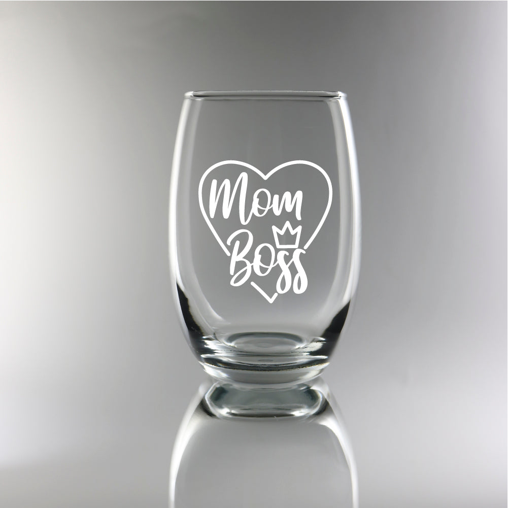 Boss Mom - 15oz Stemless Wine Glass