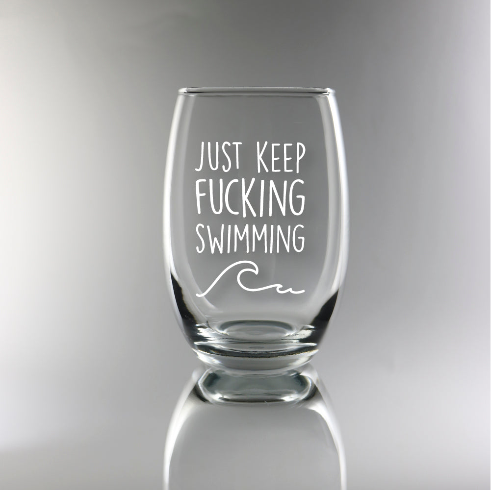 Just Keep Swimming - Stemless Wine Glass