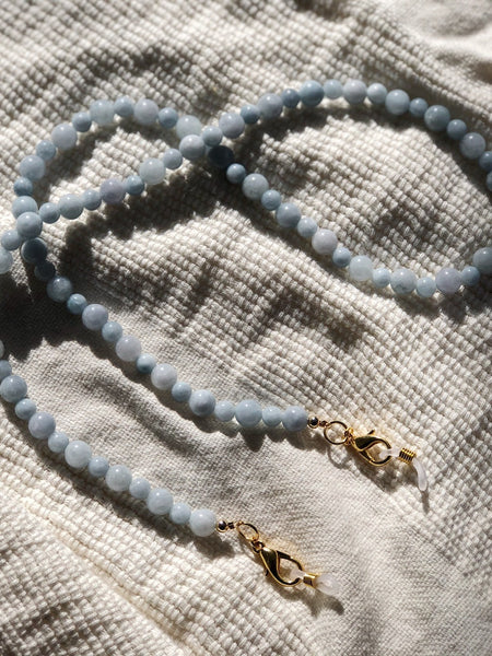 Aquamarine Gemstone Mask to Glasses Chain
