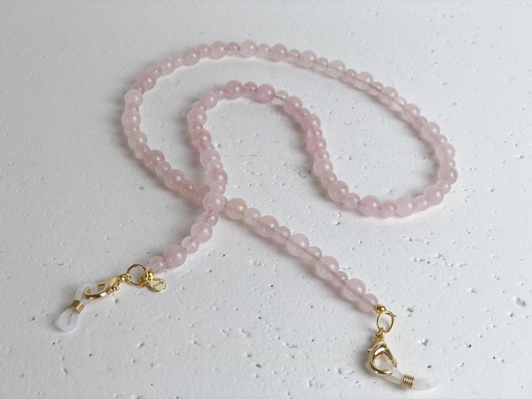 Rose Quartz Gemstone Mask to Glasses Chain