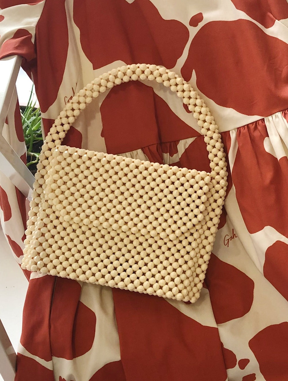 Cream Beaded Bag