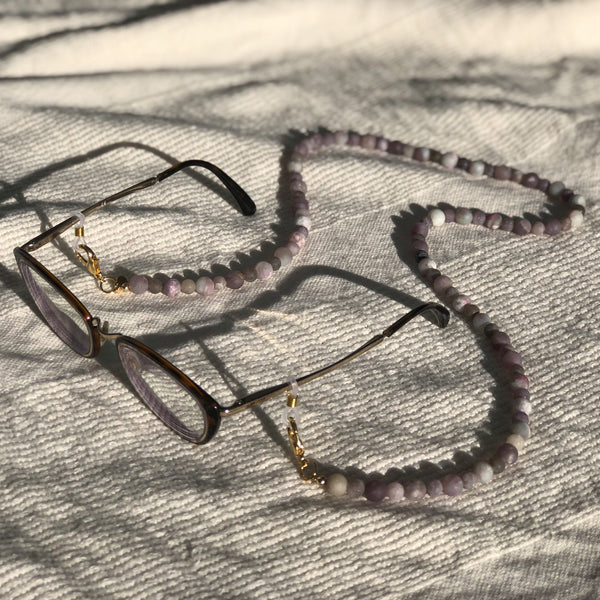 Lilac Jade Gemstone Mask to Glasses Chain